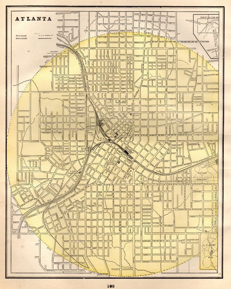 1892 Antique Original Atlanta Georgia Map Vintage City Map Of Dallas 4812 Georgia Map Old Map Vintage Map