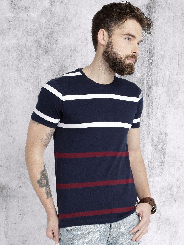 05b51e71c9e4 Roadster Navy Blue Striped Round Neck T-shirt