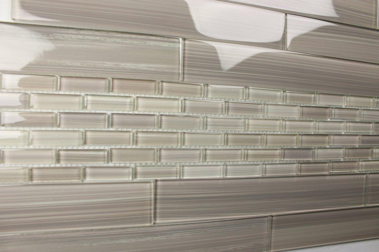 Light Gray Hand Painted Subway Glass Tile Kitchen For Backsplash/bathroom