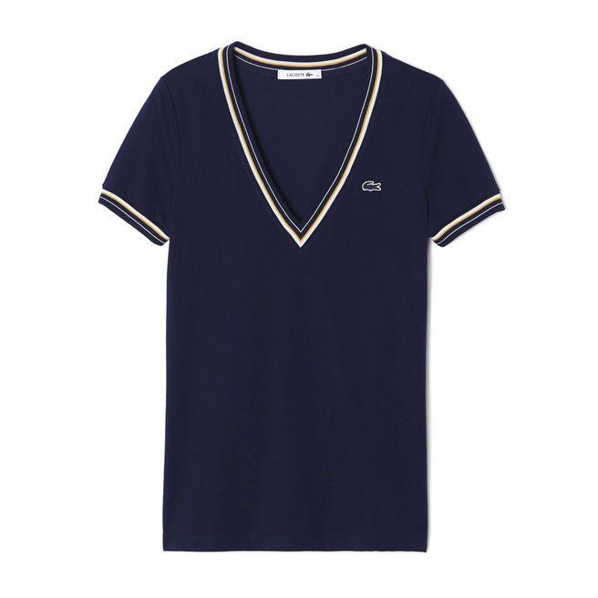 T-shirt décolleté V avec liserés Lacoste ! J'adore !