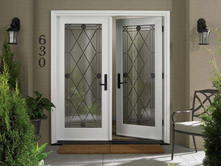Double Front Doors White exterior, : classic exterior decoration using white oak wood