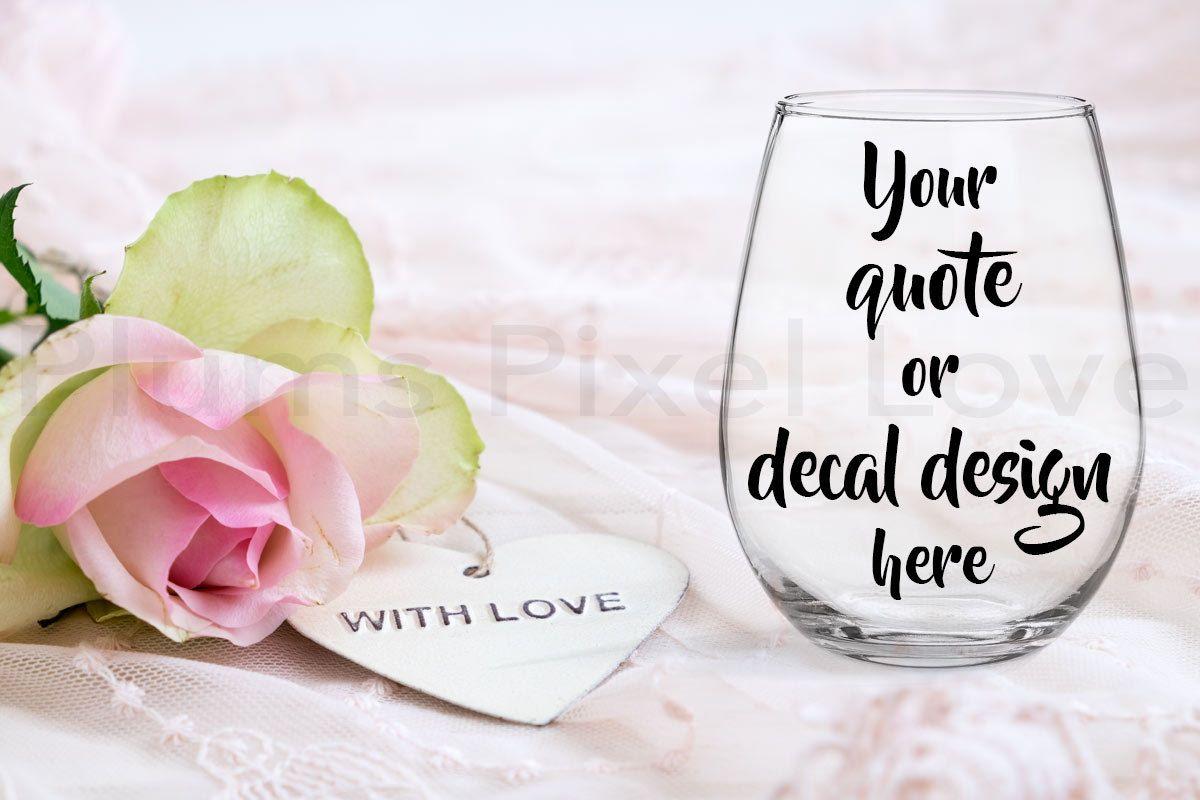 Wine Glass Mockup, Styled Stock wine glass Image, Mock up stemless ...