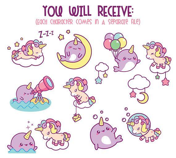 Unicorn clipart, cute unicorn clipart, kawaii unicorn clip art ...