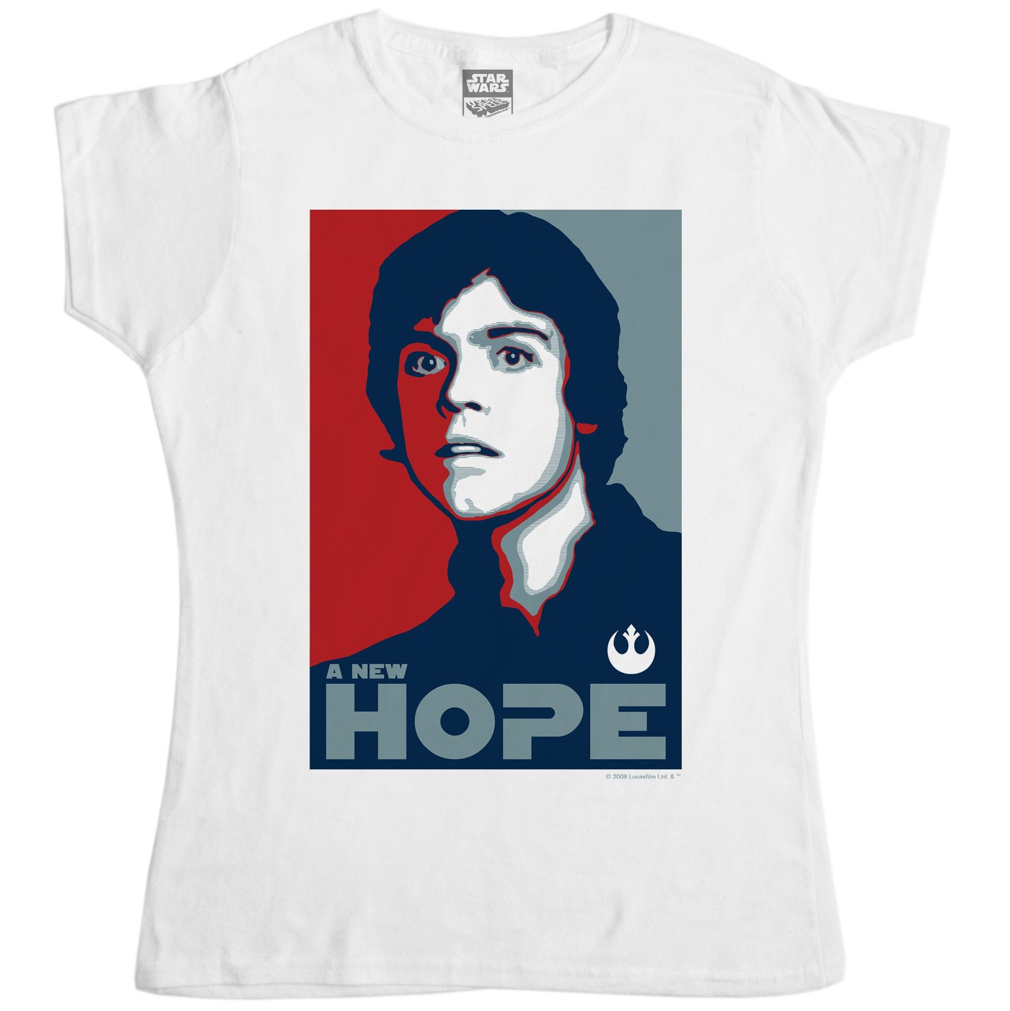 This Star Wars women s white t-shirt features a Luke Skywalker version 447307720
