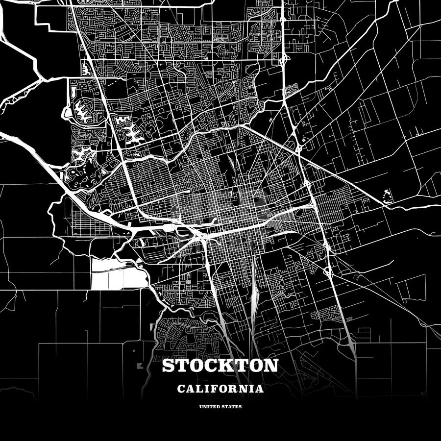 Black map poster template of Stockton, California, USA ...