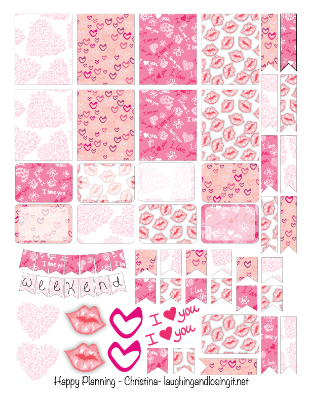 Free Printable Valentine Planner Stickers from Laughing and Losing It