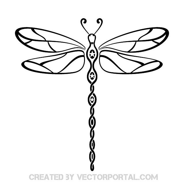 Dragonfly Tribal Style Free Vector Dragonfly Tattoo Dragonfly Clipart Dragonfly Tattoo Design