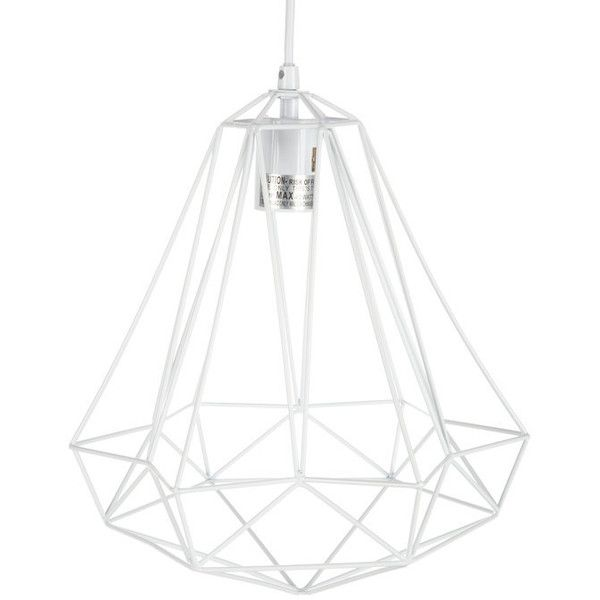 White Geometric Caged Metal Pendant Light 1083225 IDR Liked On Polyvore