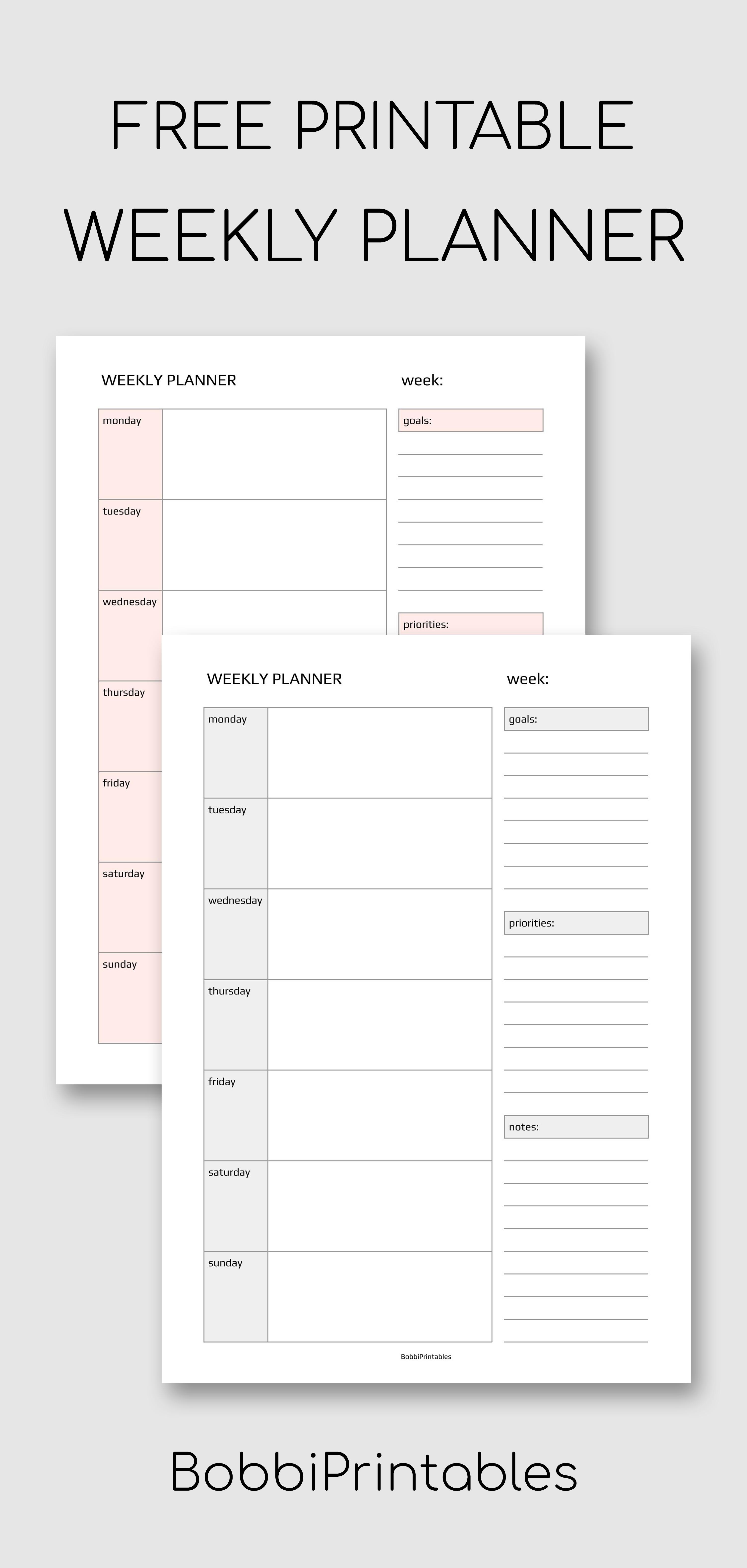 Weekly Planner Printable Weekly Planner Free Printable Weekly Planner Printable Planner Printables Free