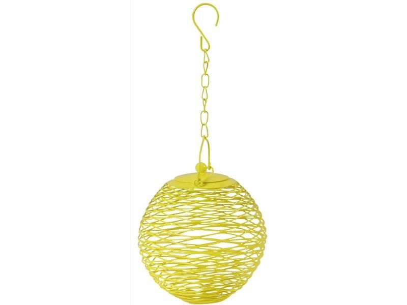Globe shaped bird feeder in yellow by RICE