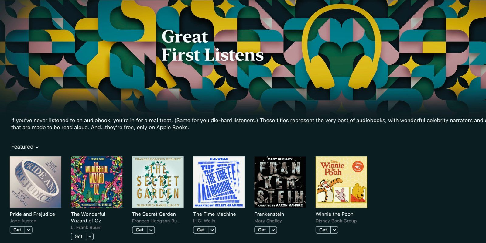 Apple Books releases six free audiobooks read by celebrity
