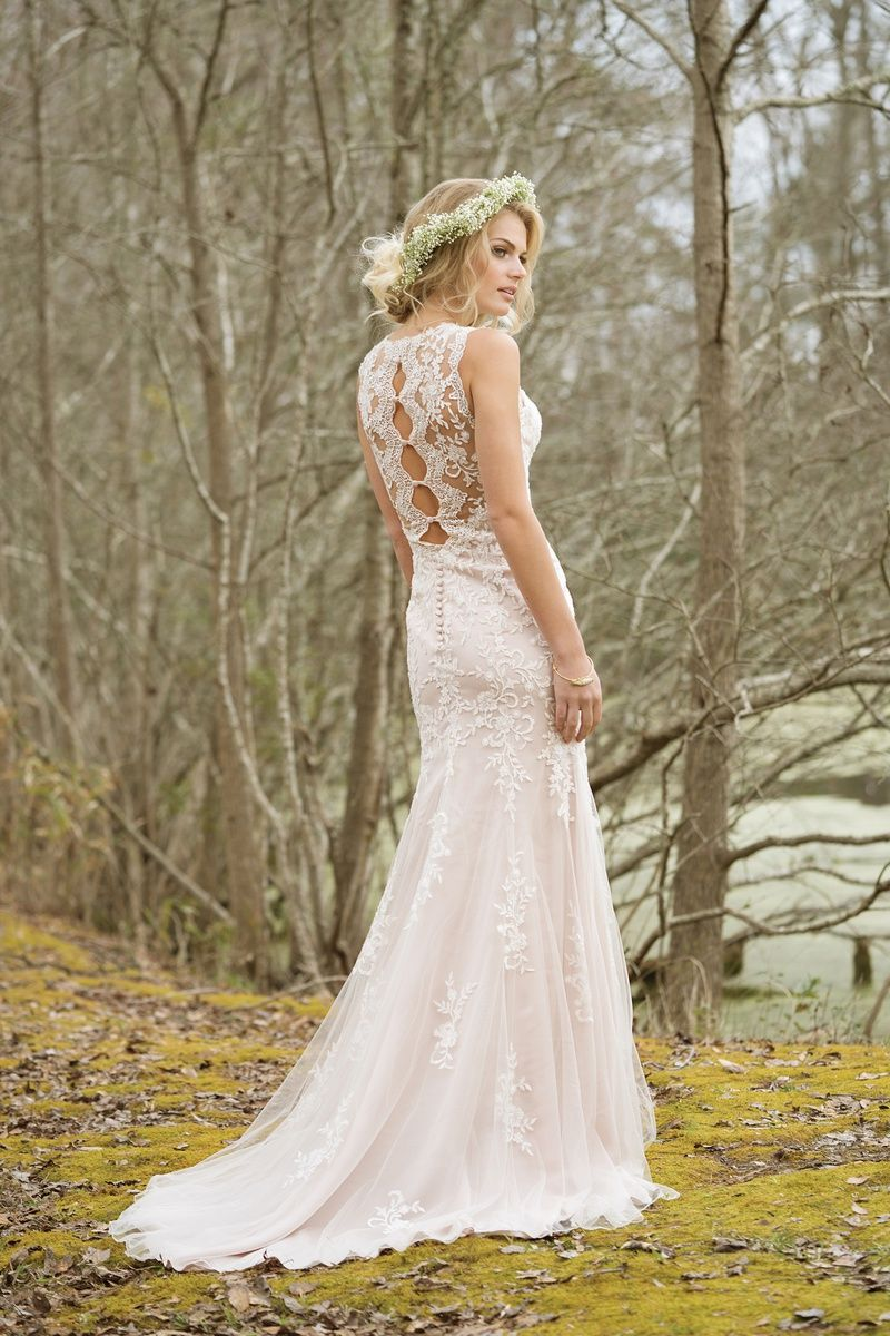 Lillian west high neck fit and flare tulle and lace gown dresses