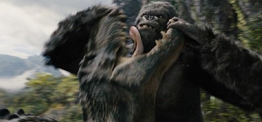 KING KONG (2005) / Kong kicks the remaining V-Rex's butt and rips his jaws apart, just like in the 1933 version.