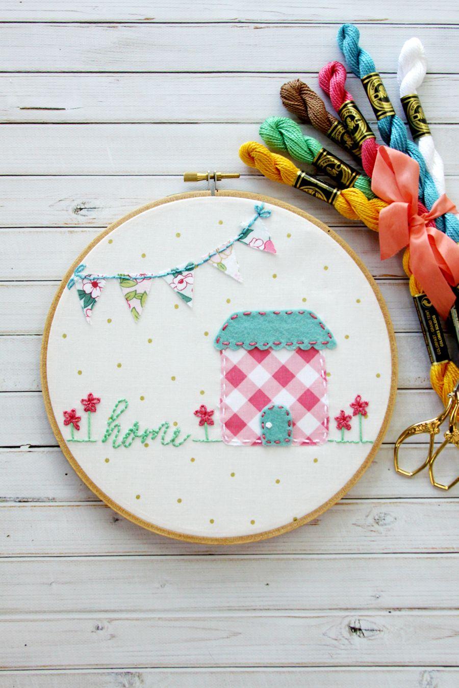 Sweet Home Embroidery Hoop Art - | Gifts | Pinterest | Bordado ...