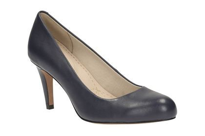 Clarks Carlita Cove, Navy Leather, Womens Smart Shoes