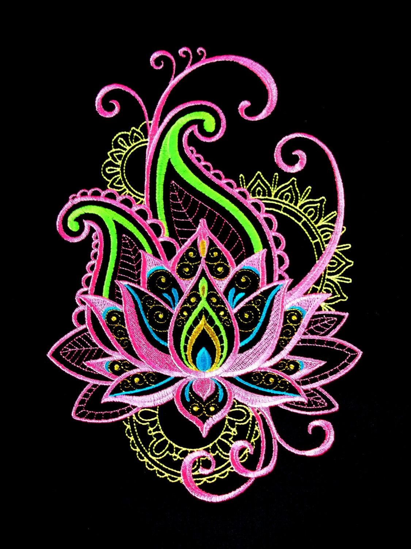 Machine embroidered Mehndi Lotus Spray, quilt panel, cushion panel ... : cushion panels to quilt - Adamdwight.com
