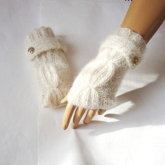 Hand Knit Ivory Gloves Mitten Fingerless Glove Arm Warmer by Pasin ...