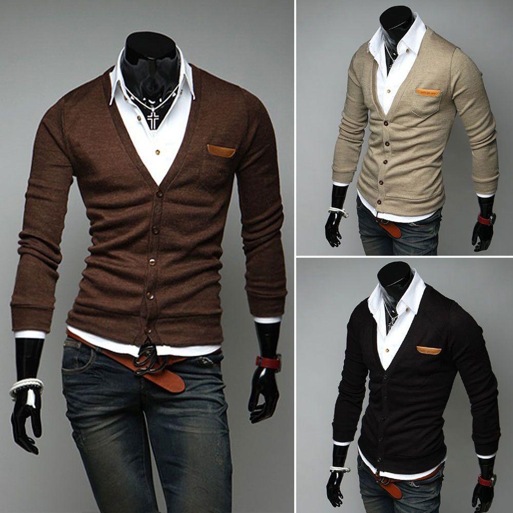 Men Deep V Neck Slim Fit Knit Cardigan Sweater Button Coat Blazer ...