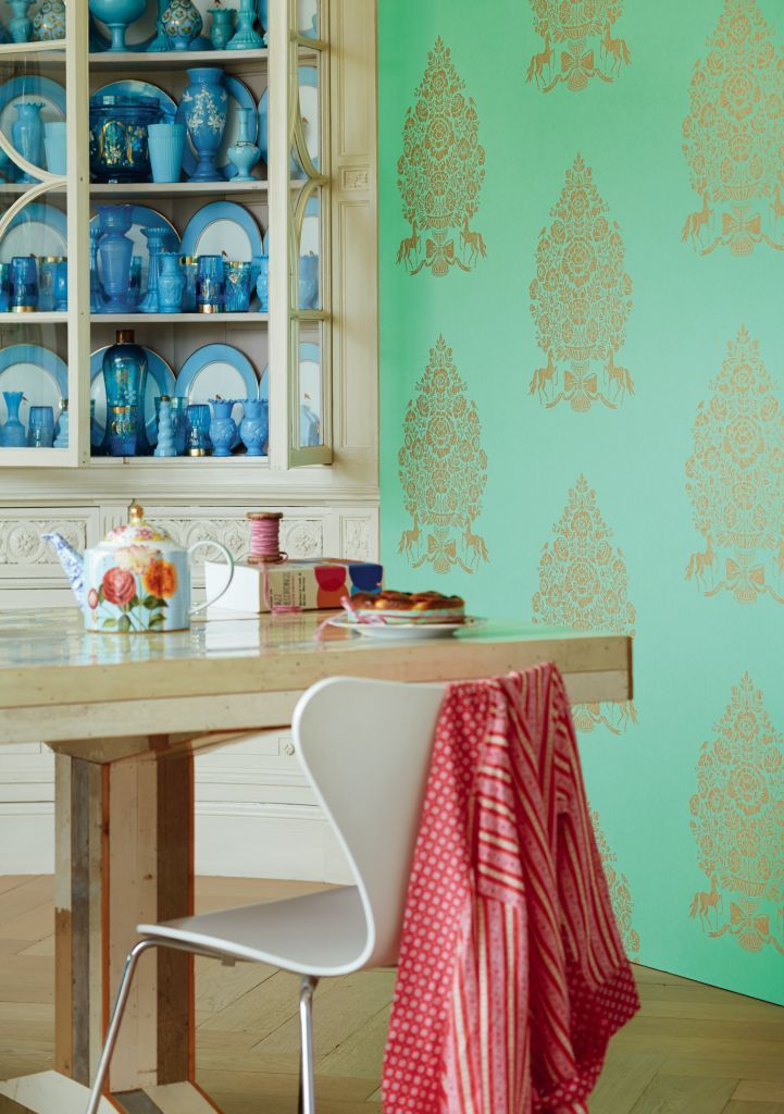 Best E341055Bold Patterned Wallpaper With Mint Green Background 400 x 300
