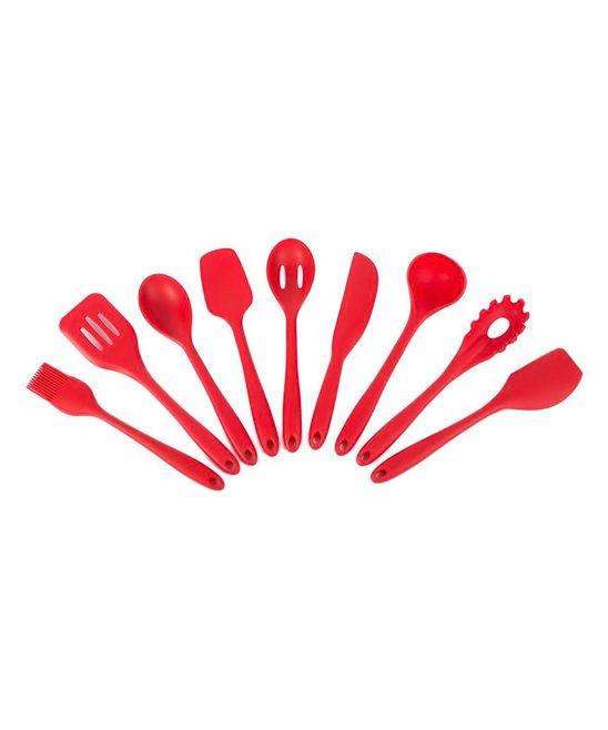Red Nine-Piece Silicone Kitchen Utensil Set