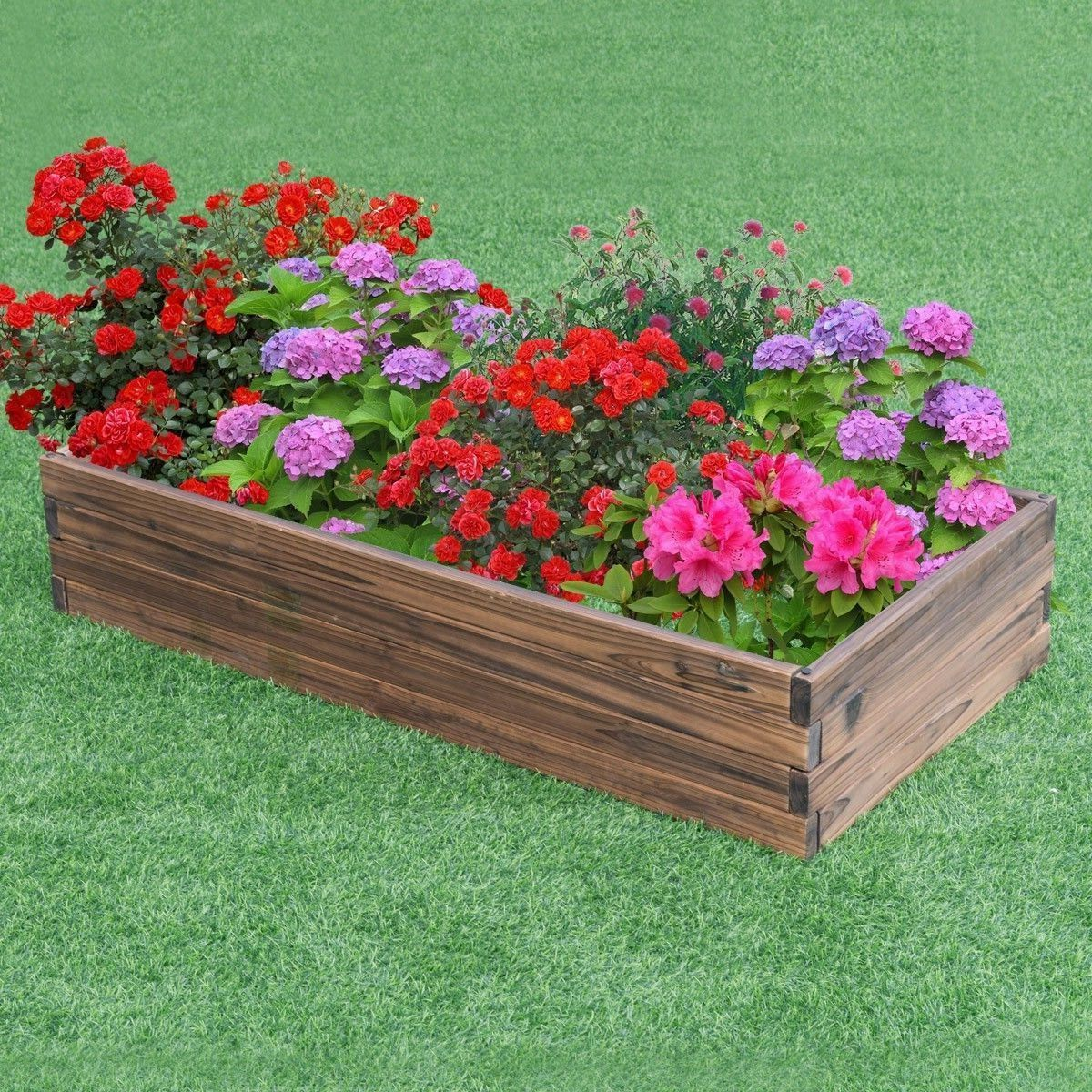 Garden patio wooden raised elevated planter box bed frame
