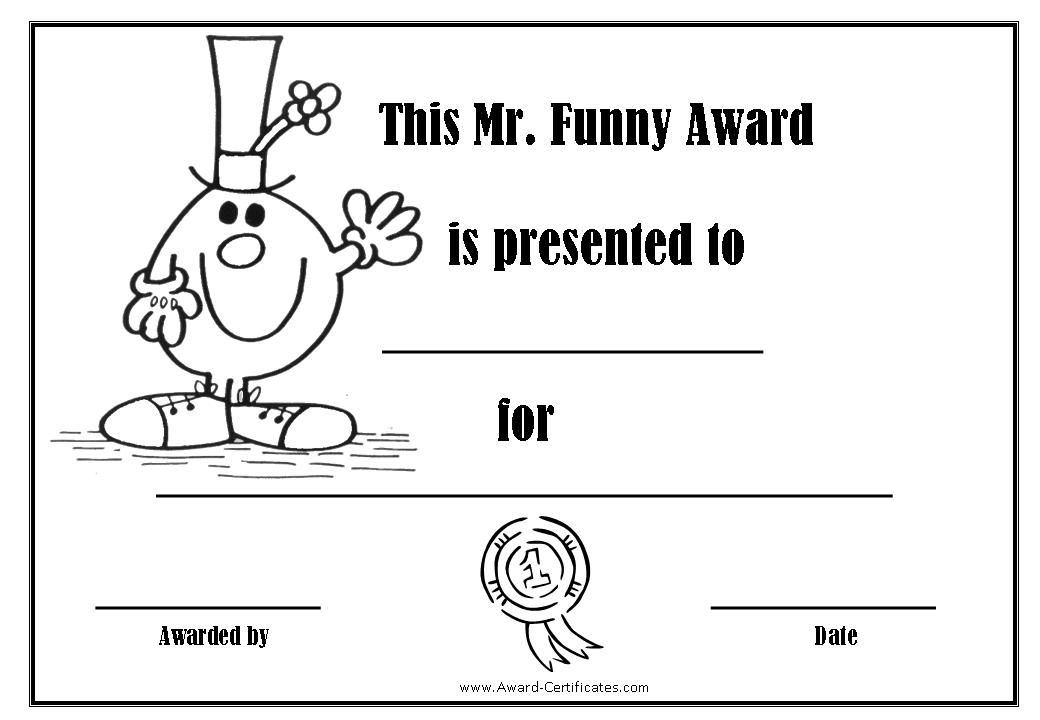 Award Certificates With The Mr Men  Reunion Ideas