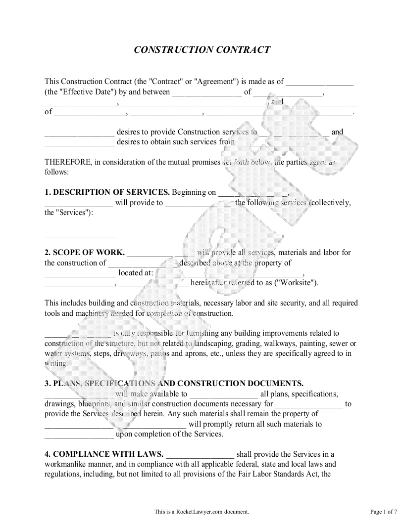 Sample Construction Contract Form Template Contract