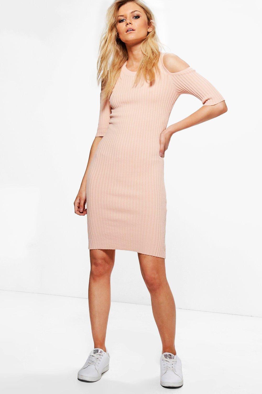 Cold shoulder rib knit jumper dress pink dress ideas pinterest