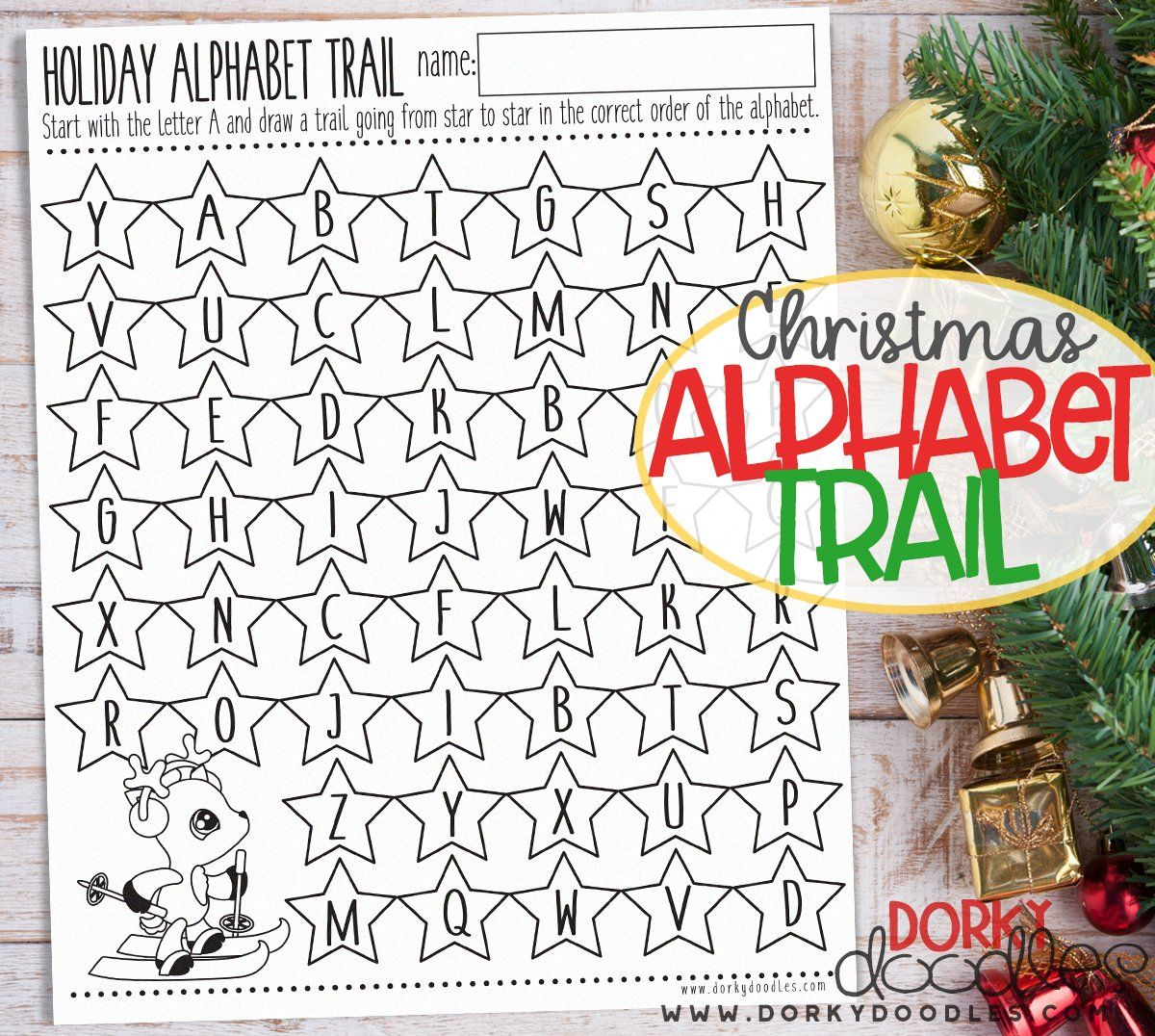 Christmas Alphabet Trail Worksheet Printable