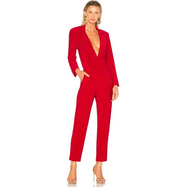 Norma Kamali Single Breasted Jumpsuit ($295) ❤ liked on Polyvore featuring jumpsuits, rompers & jumpsuits, jump suit, playsuit romper, red romper, long-sleeve romper and red jump suit