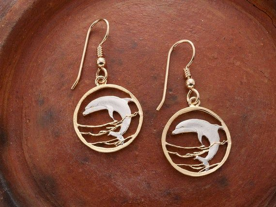 14 KT gold or silver Dolphin Wire Earrings