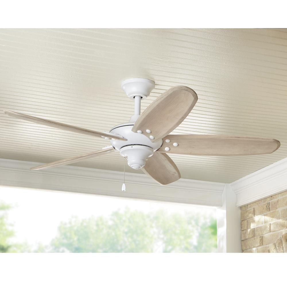 Home Decorators Collection Altura 48 In Indoor Outdoor Matte White Ceiling Fan 51746 The Home Depot Ceiling Fan Wood Ceiling Fans White Ceiling Fan