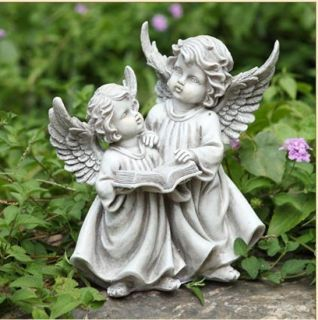 reading cherubs outdoor angel garden statue Garden Decor