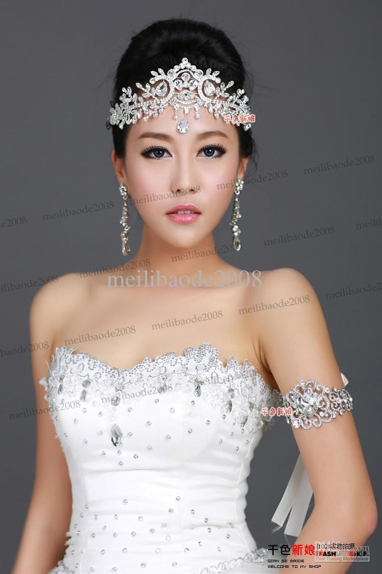 Tiaras wedding side tiara bridal necklace wedding bracelet tiara - Wedding Fashion Bridal Crystal Tiara Crown Hair Accessories Jpg