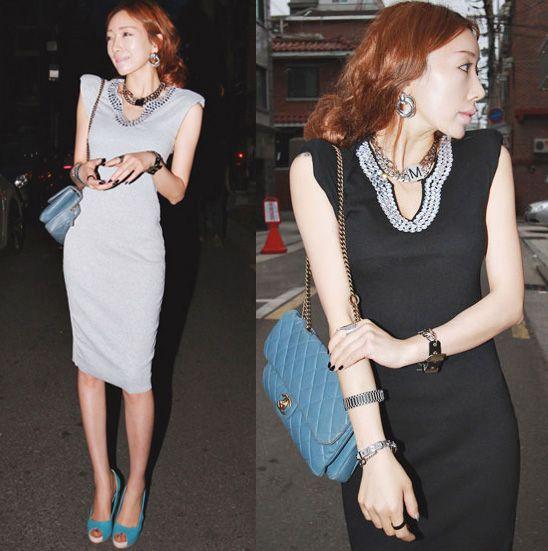 Street style sexy V-neck beading slim hip pads thread medium skirt sleeveless one-piece dress 1184