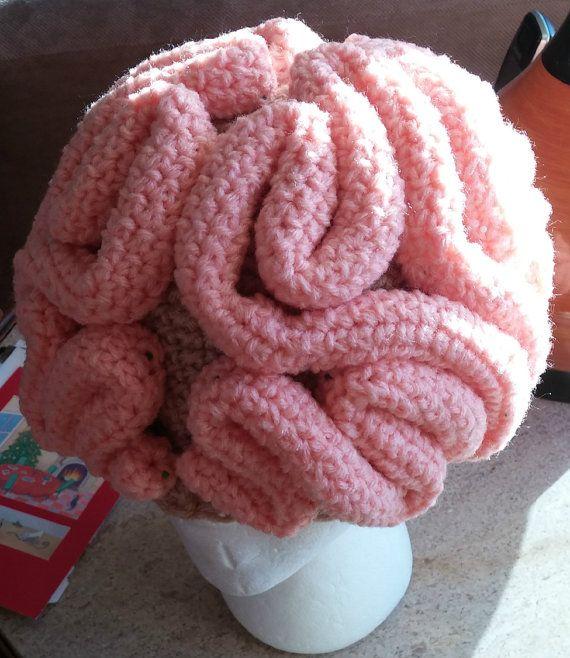 Crochet Brain Beanie by NoGrannyCaps on Etsy