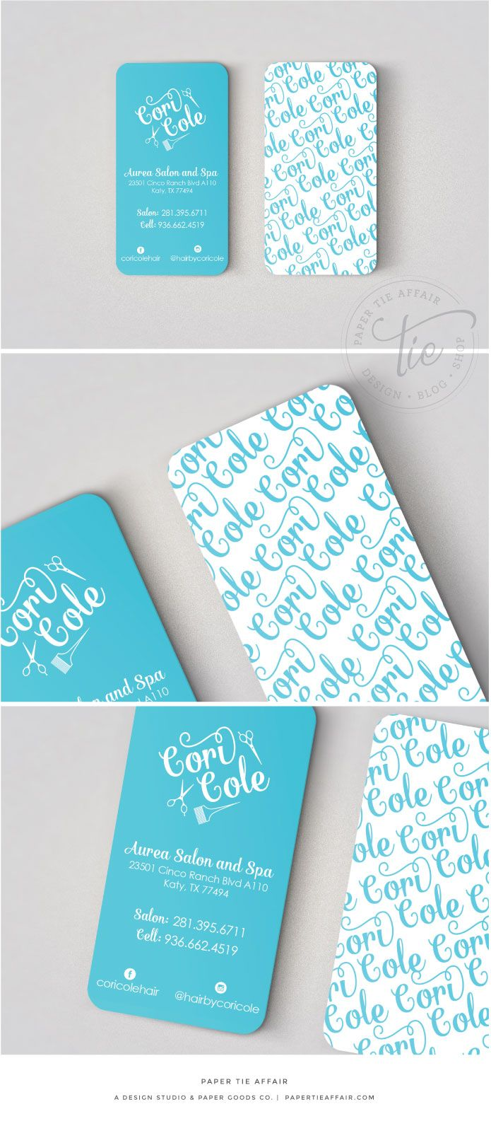 Fun and modern business cards #hair #salon