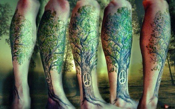 татуировка деревце на ноге (1)