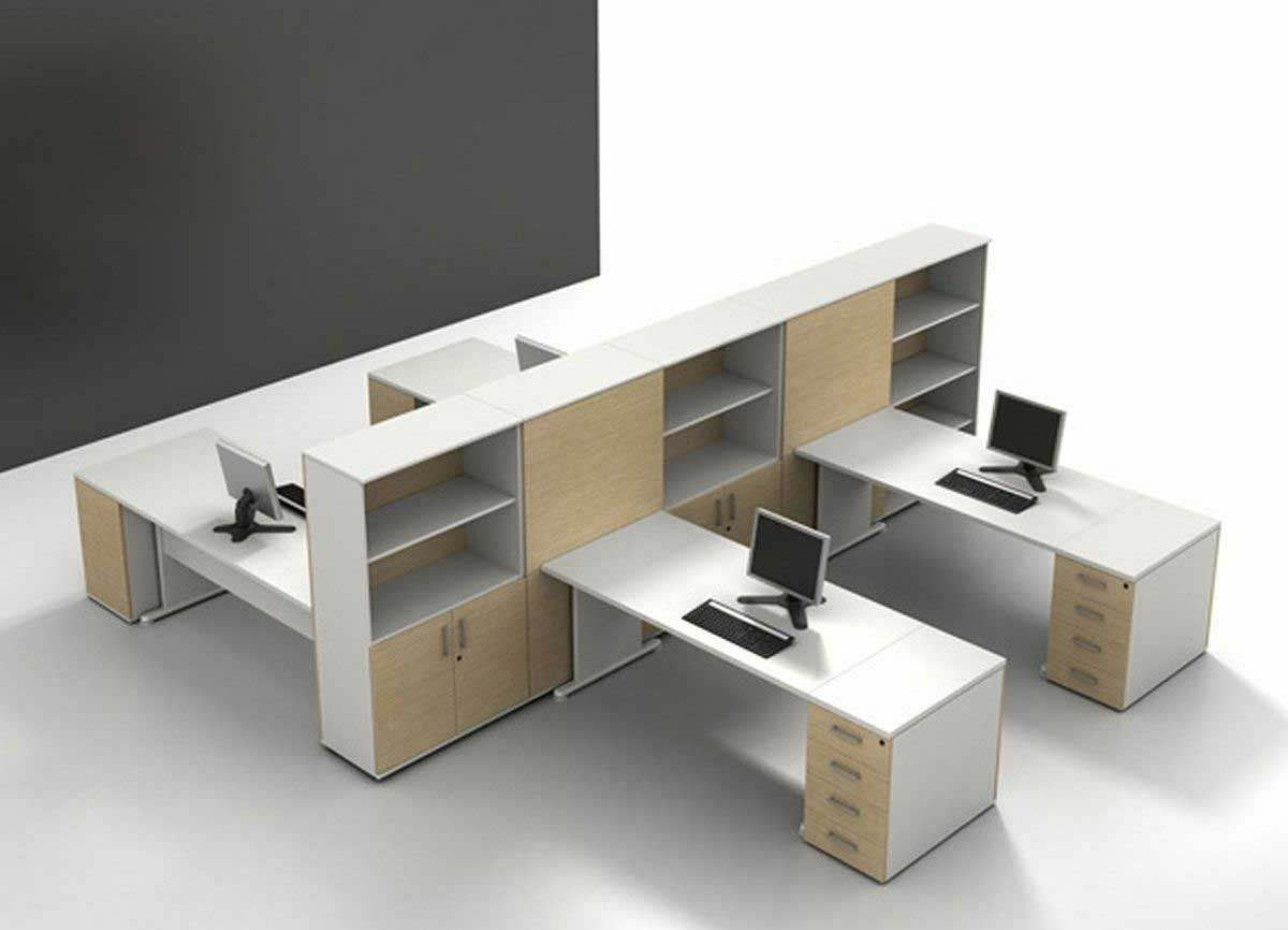 Home Design Spacious White Laminate Cubicle Office Furniture Design With  Open Rack And Brown Cabinet Door Futuristic Modern Office Cubicle With  Contemporary ...