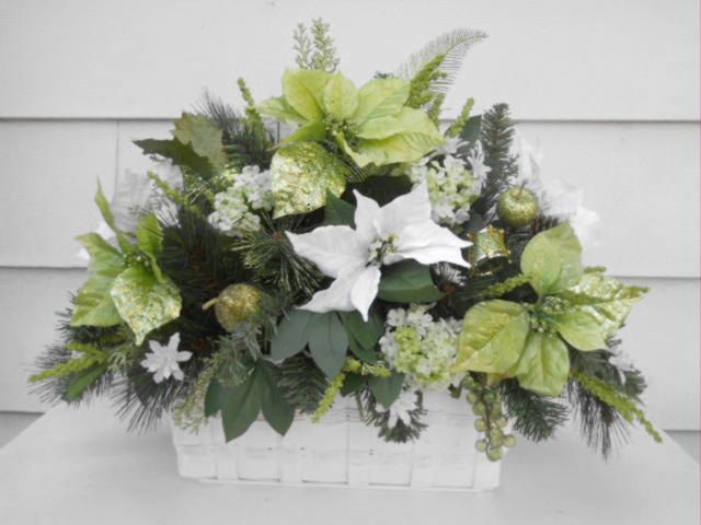 Christmas silk poinsettia flower arrangement holiday for Poinsettia arrangements