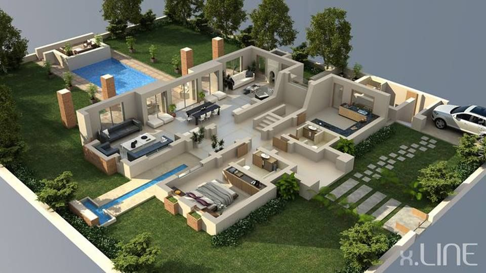 50 Denah Rumah Minimalis 3d 3 Kamar Tidur 2 Lantai Dan 2 Kamar Tidur Desain Exterior Rumah House Blueprints Denah Rumah