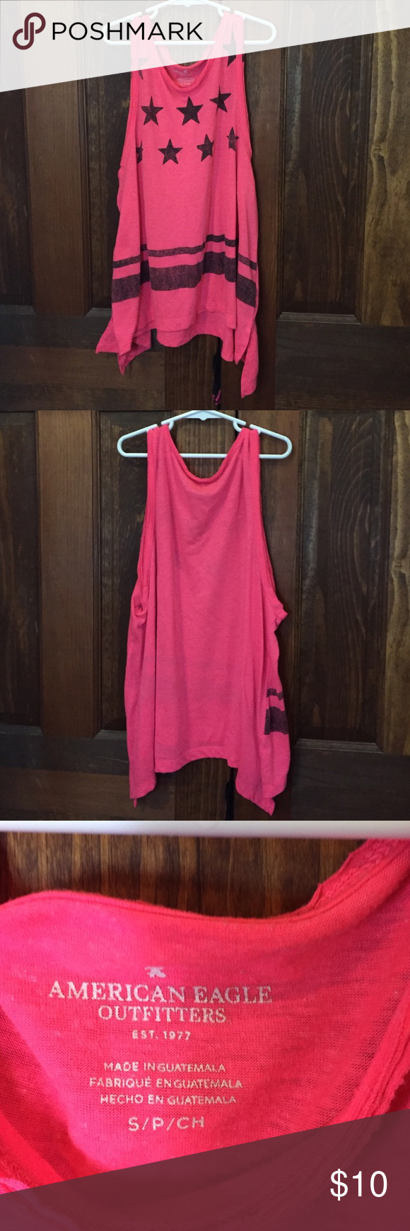 American Eagle Outfitters Tanktop ❤️special offers on bundles if you comment❤️ ❤️open to trade❤️ ❤️open to offers❤️ ❤️please leave feedback❤️  Bright pink tanktop with small side cutouts. Worn few times and in great condition. Fits true to size and the sides and longer the the front and back. American Eagle Outfitters Tops Tank Tops