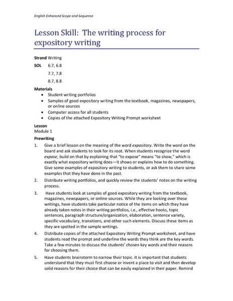 The Writing Process For Expository Writing Lesson Plan  Lesson