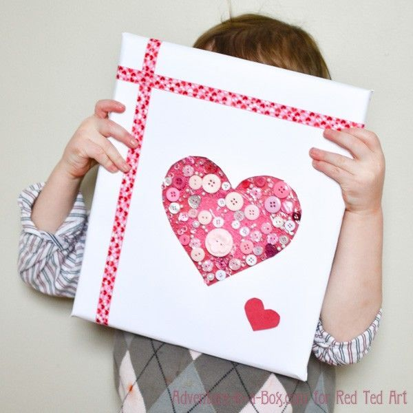 Button Heart Gift Wrap for Valentine\'s Day | Heart cards, Heart ...