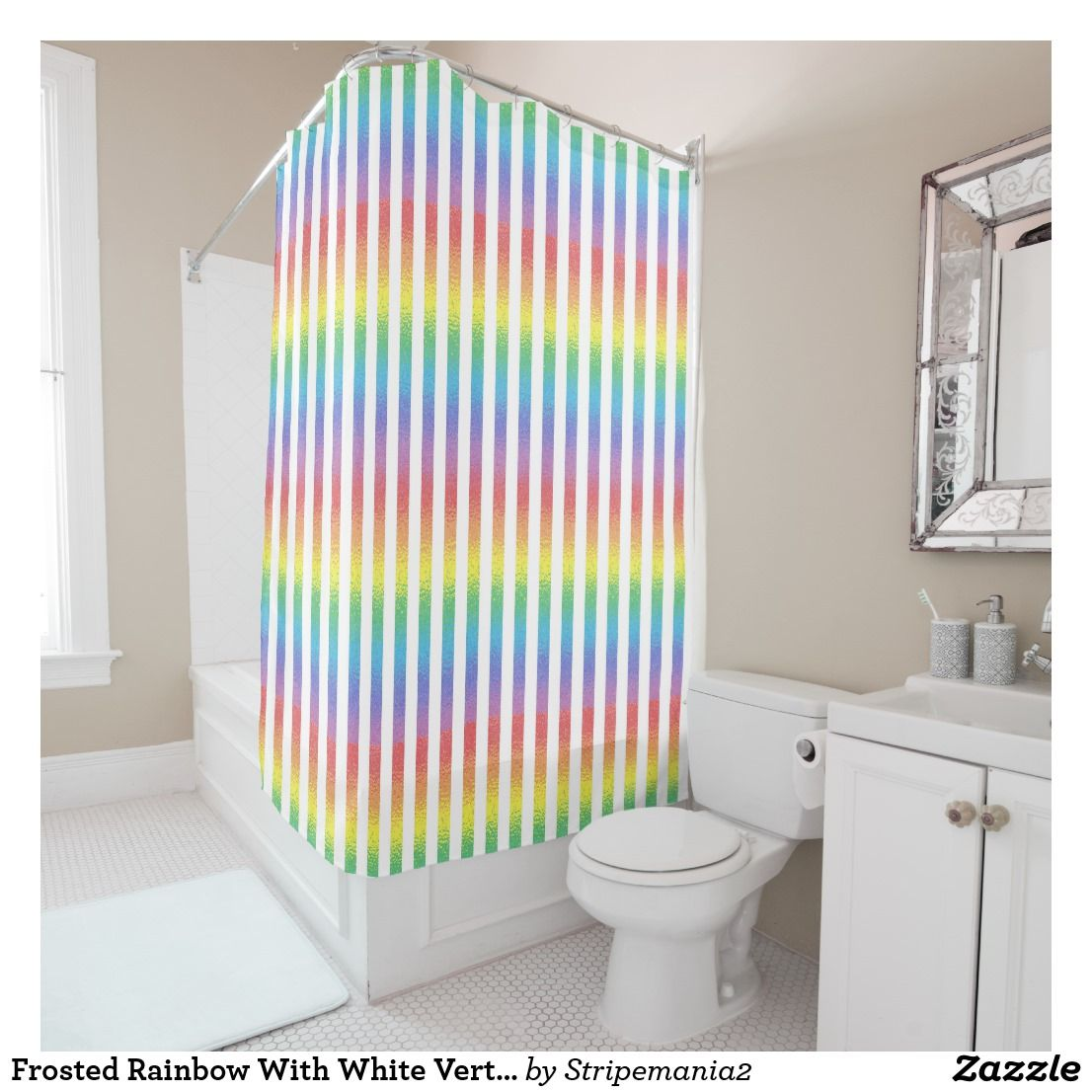 Frosted Rainbow With White Vertical Stripes Shower Curtain | Striped ...