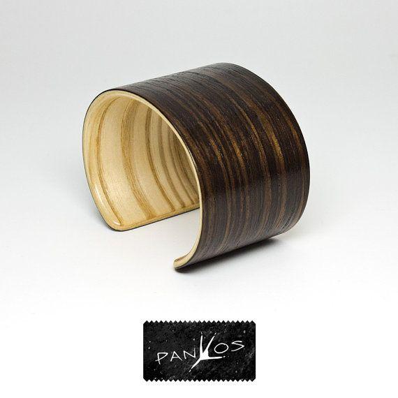 Smoke  wooden bracelet oak jewelry cuff bracelet by PanKos on Etsy