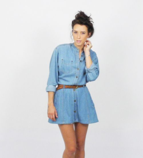 Vintage CHAMBRAY Denim 1990s Button up Shirtdress 90s Grunge Mini Shirt Dress   Belt XS - $49