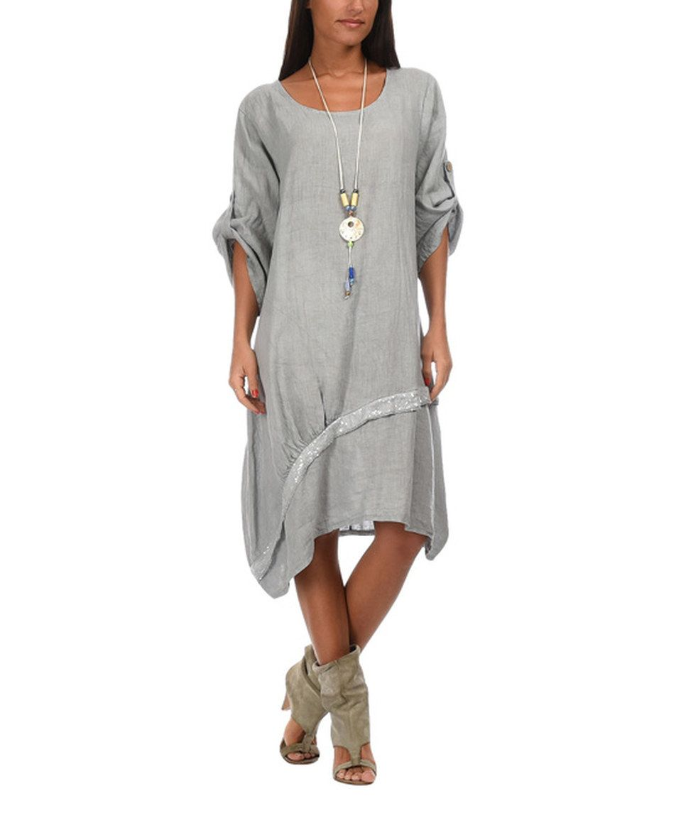 Loving this Couleur Lin Gray Oceane Linen Dress & Necklace - Women ...