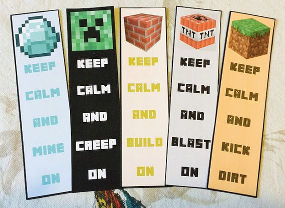 This is a graphic of Versatile Minecraft Bookmarks Printable