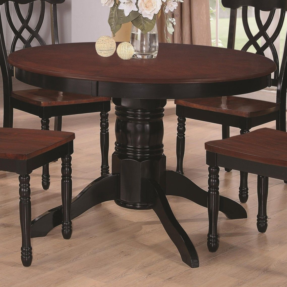 Painted round dining table  Awesome Carved Black Painted Wooden Drop Leaf Pedestal ideas